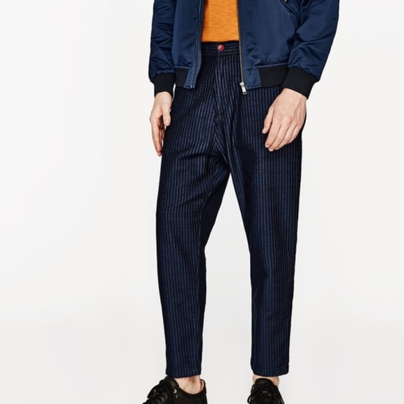 6edf70bbdd Zara Man Striped Carrot Loose Trousers Pants